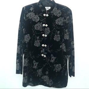 VTG JBS Ltd Black Velvet Tunic Mandarin Co…
